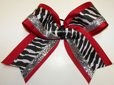 Big Cheer Bow Zebra Red Black Silver Girls Sports Cheerleader Hair Accessories