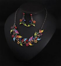 Fashion Charm Colorful Enamel Leaf Flower Pendant Necklace+Earrings 1Set