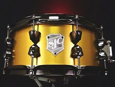 """SJC Custom Drums 14x6"""" Brushed Brass Over Maple Snare Drum Brand NEW"""