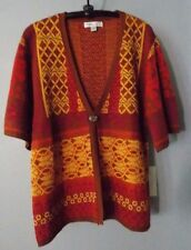 COLDWATER CREEK One Button FALL COLORS Short Sleeve CARDIGAN Sweater Size Large