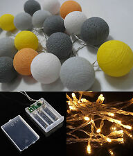 Battery Operated LED 20 mixed Gray Cotton Ball String Lights Fairy