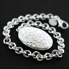 AN728 GENUINE REAL 925 STERLING SILVER S/F VINTAGE DESIGN LOCKET BRACELET BANGLE