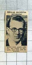 1939 Henry Hall, Popular Radio Star, Returning To Newcastle With Orchestra