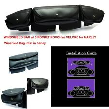 X-Large Motorcycle Windshield Bag W/ 3 Pocket Pouch W/ Velcro for Electra Glide