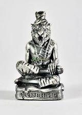 6202-THAI AMULET FIGURE BRONZE SILVERY LERSRI TIGER HEAD HERMIT WIN MONEY LP NEN