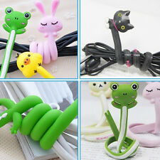 2X Kawaii Animal Earphone Wrap Cord Wire Cable Holder Winder Organizer