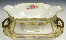 LIMOGES FRANCE ROSES FLOWERS GRAVY BOAT ATTACHED UNDERPLATE