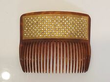 Antique victorian rhinestone gold inlaid 22kt hair comb