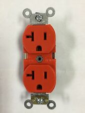 LEVITON 5362 Industrial Spec Grade 20A Orange Duplex Receptacle, 125V back/side