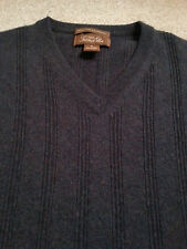 TASSO ELLA Men's V-Neck 100% CASHMERE Medium (M) GRAY L/S Sweater