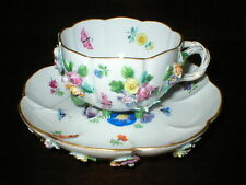 MEISSEN FLORAL ENCRUSTED STILTED CUP & SAUCER BLUE CROSSED SWORDS AF AT FAULT