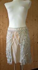 Années 90 EXTE argent métallisé crochet dentelle nude soie paillettes a-line jupe 42/M
