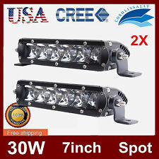 2X 7Inch 30W Single Row Cree Slim Spot LED Light Bar Offroad Ford 4WD Driving US