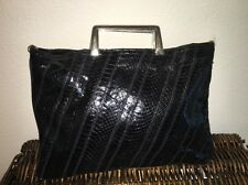 ��Vtg Bags by Varon,Snakeskin Leather Clutch shoulder Snake Bag Purse Black��