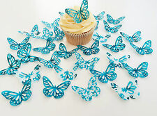 32 Edible Turquoise Heaven Butterflies Pre Cut Wafer Cupcake Toppers