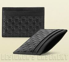 GUCCI black Micro Guccissima GG embossed Leather Card Case NIB Authentic $195!