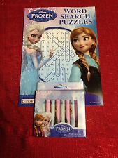 Disney Frozen Word Search Puzzles Color Book  With 10 Anna Elsa Crayons