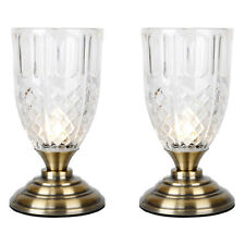 Pair of TOUCH Vintage Style Antique Brass & Glass Touch Bedside Desk Table Lamps