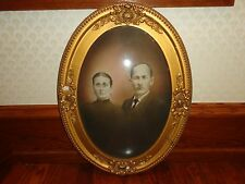 Antique Oval Framed w Convex Glass Photo of a Husband & Wife, Vintage,