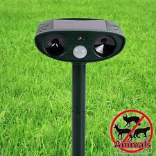 Solar Power Dual Ultra Sonic Garden Pest Repellent Cat Dog Fox Animal Repeller