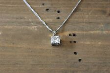 Vintage Sterling Silver Solitaire CZ Necklace 18 inch