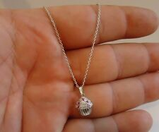 925 STERLING SILVER CUPCAKE PENDANT NECKLACE W/ ACCENTS / SIZE 17MM BY 9MM