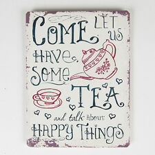 Small Come Let Us Have Some Tea And Talk About Happy Things Metal Tin Magnet