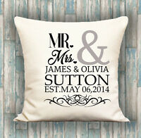 Anniversary Date PERSONALISED LUXURY CUSHION COVER YOUR TEXT, PERFECT GIFT
