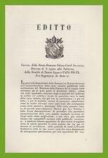 Editto ammortizzazione carta moneta Cardinale Antonelli S. Agata Suburra 1851