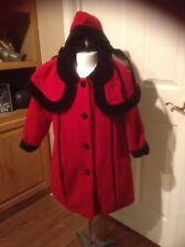 CHRISTMAS RED WOOL HOLIDAY PETTICOAT LONDON FOG CHILDS CHURCH COAT HAT SZ 5