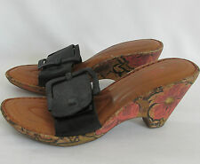 BORN Crown Black Leather Painted Flower Cork Slip-on Wedges Shoes size 11M