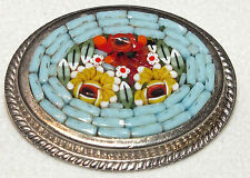 Gorgeous Vintage Micro Mosaic Floral Motif Oval Pin/Brooch