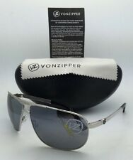 New VONZIPPER Sunglasses VZ SKITCH Silver Aviator Frame w/ Grey Chrome Mirrored