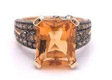 LeVian Ring Chocolate Diamond Citrine 6.60 cttw RING 14K Yellow gold Size 7