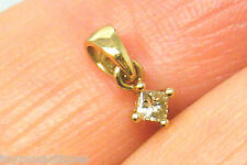 9k gold 9ct Yellow solid gold  champagne princess diamond solitaire  pendant