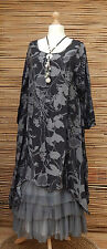 LAGENLOOK GORGEOUS COTTON BLEND 2 POCKETS DRESS/TUNIC*BLACK/GREY* SIZE S-M
