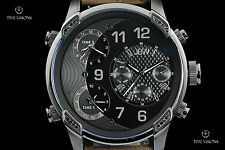JBW Men's 52mm G4 Gunmetal 16 Diamond Black Dial Triple Time Zone Strap Watch