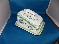Stunning Antique Covered Cheese Tray Cheese Dish Flow Blue Ribbons