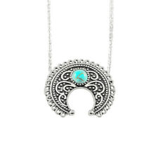 Hippie Vintage Gypsy Necklace Anqtique Silver Moon Flower Turquoise Bohemia sed