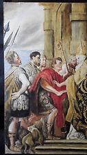 wunderschön Großes Ölgemälde Kaiser Palast auf Thron Personen Menschen Ölbild