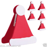 6 X SANTA HAT TABLE PLACE SETTING NAME CARD HOLDER CHRISTMAS PARTY DECORATION