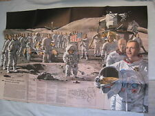 VINTAGE APOLLO 13 CREW NASA POSTER/MAP NEIL ARMSTRONG National Geographic 1973