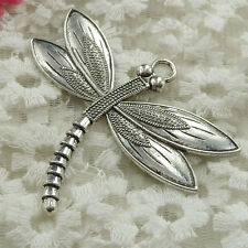 Free Ship 8 pieces Antique silver dragonfly pendant 67x59mm #816
