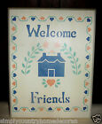 "WOOD STENCILED ART SIGN~""Welcome Friends""~Handcrafted~Handpainted~FREE SHIP"