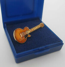 Electric Guitar Pin Badge Lapel Brooch Gibson Les Paul Gold Arch Top  GIFT BOXED