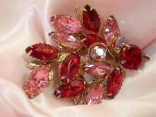 Sparkly Vintage 50's Pink and Red Navette Rhinestone Brooch  556N4
