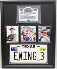 Dallas TV Show framed display w/ photos stock cert. & Ewing 3 license plate