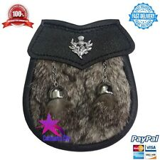 Child's Kilt Sporran Grey Rabbit Fur Thistle/Kids Sporran Leather/Baby Sporrans