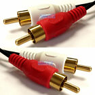 1m Twin RED WHITE 2x RCA PHONO Audio LEFT RIGHT Cable Male to Male Lead GOLD