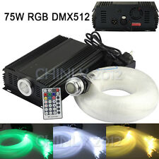 DMX 75W RGB remote LED Fiber Optic star ceiling kit light 1000pcs 5m 0.75mm
